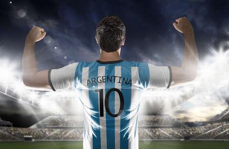 argentine: Argentine soccer player in the stadium