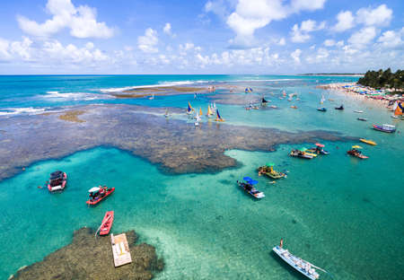 brazil beach: Aerial view of Porto de Galinhas beach located in Pernambuco State, Brazil