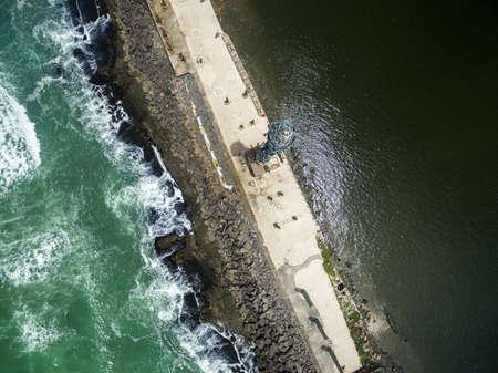 located: Top view of Recife Coast, located in Pernambuco State, Brazil