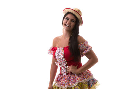 latina america: Brazilian brunette woman wearing junina costume
