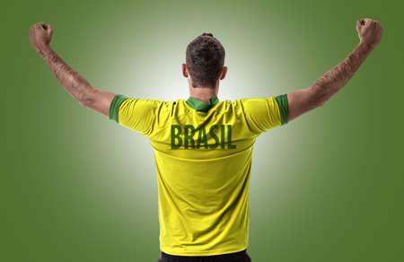 look latino: Athlete on Brazilian uniform Stock Photo