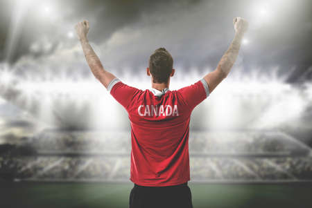 Athlete on Canadian uniform Stock Photo