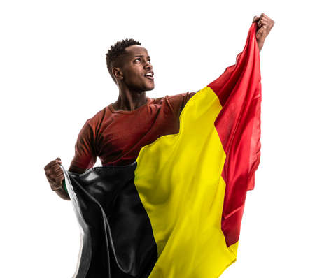Soccer fan with Belgium flag