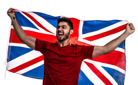 Soccer fan with United Kingdom flag Stock Photo