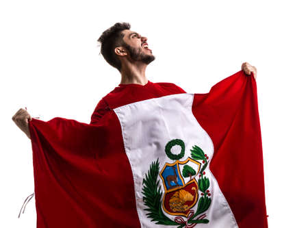 Soccer fan with Peru flag