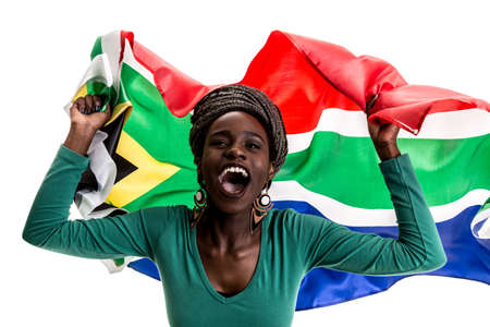 Female soccer fan with South Africa flag