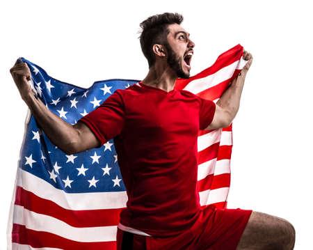 Soccer fan with United States flag