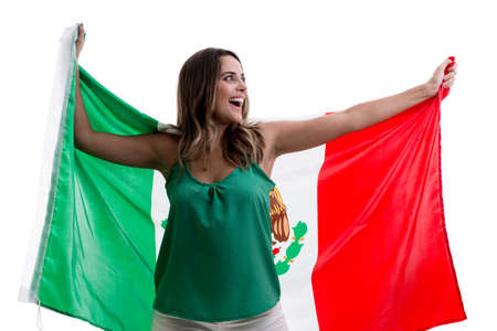 Female soccer fan with Mexico flag