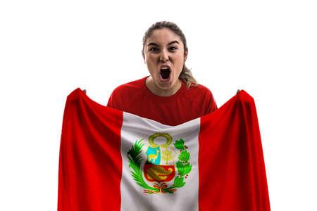 Female soccer fan with Peru flag