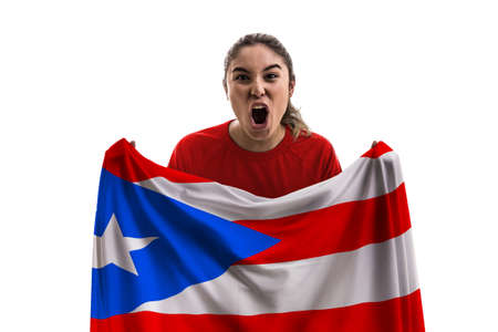 Female soccer fan with Puerto Rico flag