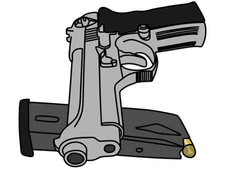 92: gun and magazine, illustration