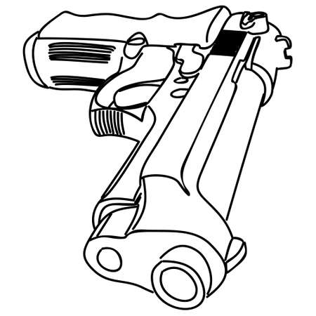 pistol, illustration Illustration