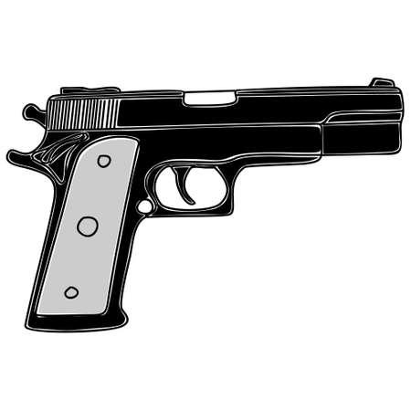 gunfire: pistol, illustration Illustration