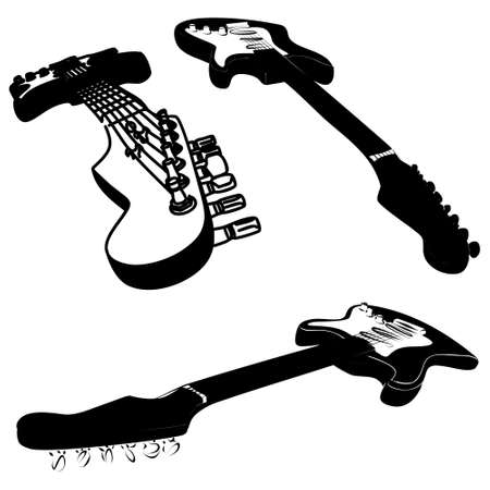 rosewood: group of electric guitars