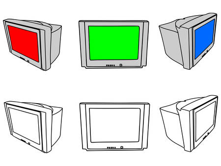 retro tv: group of retro tv Illustration
