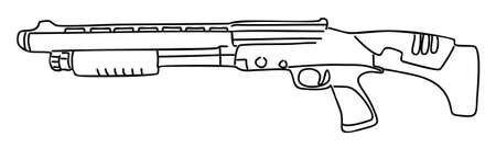 black powder pistol: shotgun isolated on white background Illustration