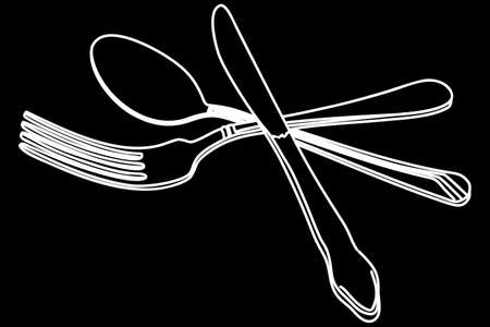 knife and fork: knife, fork and spoon vector