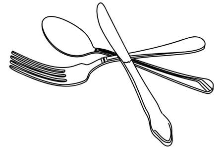 knife fork: knife, fork and spoon vector