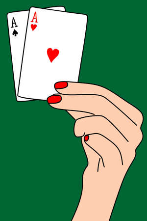 two aces in hand, illustration