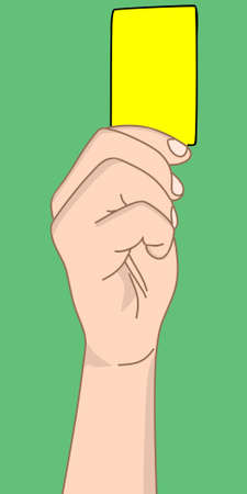 soccer referees hand with red card: referee hand with yellow card, illustration Illustration