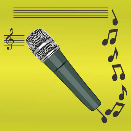 entertaining presentation: microphone, illustration Illustration