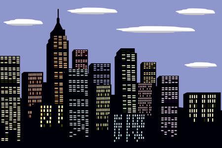 moon  metropolis: New York city, illustration