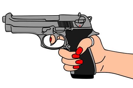 pointed gun, illustration