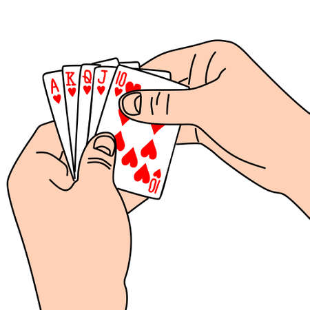 jack of hearts: A royal flush in hearts in hand isolated on white background Illustration