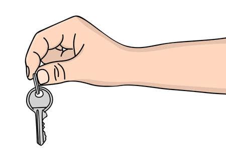 hand key: Hand holding key, illustration Illustration