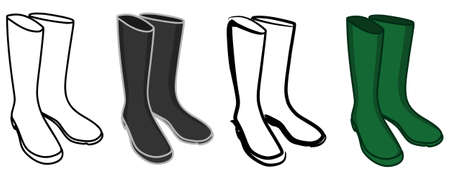 muddy clothes: wellington boots, rubber boots, illustration