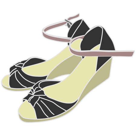 elegant woman: Elegant woman shoes, illustration