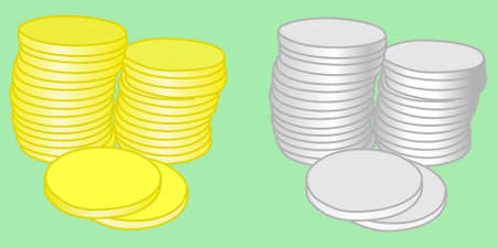 silver coins: golden and silver coins, illustration Illustration