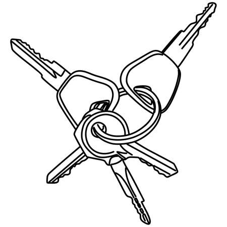 remote lock: car keys, illustration