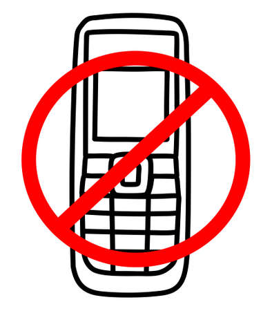 sign not to talk by phone: No mobile phone sign Illustration
