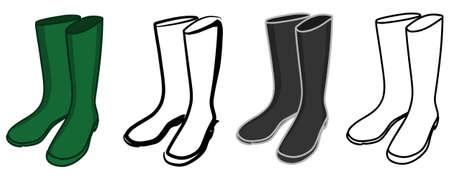 gumboots: wellington boots, rubber boots, illustration