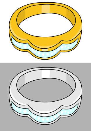 fiancee: golden and platinum ring vector illustration isolated on white background Illustration