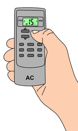 Hand holding a remote control of air conditioner, illustration