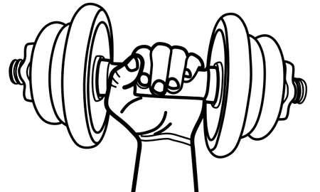 hand holding dumbbell, illustration