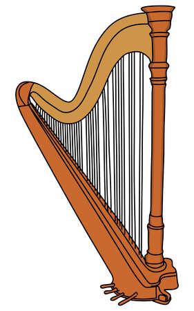 symphonic: The concert harp, vector illustration