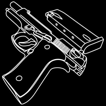 inox: gun and magazine, illustration