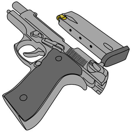 semi automatic: gun and magazine, illustration