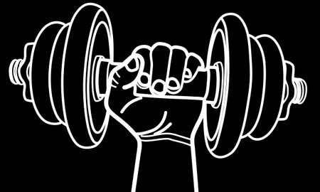 hand with dumbbell: hand holding dumbbell, illustration