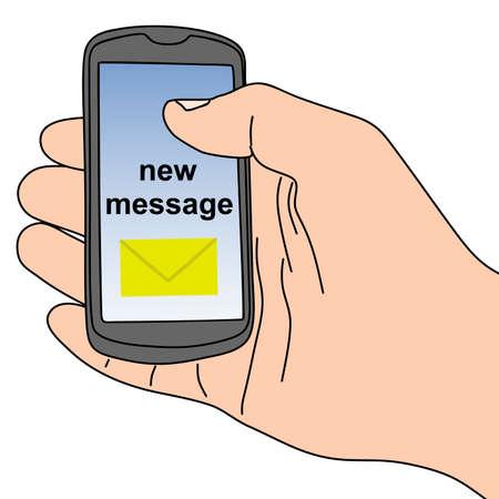 vector illustration of hand holding a touchscreen smartphon Vektorové ilustrace