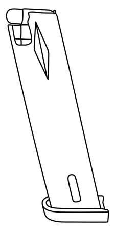 casing: Ammunition magazine isolated on white background, vector illustration