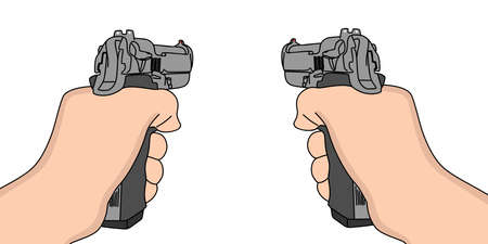 handgun: hand holding a handgun vector illustration