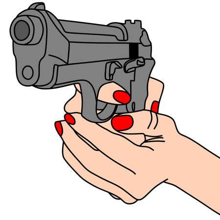 gunfire: hand holding a handgun vector illustration
