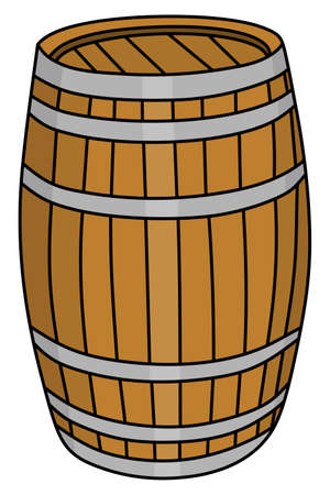 wooden barrel: old barrel, wooden barrel, illustration