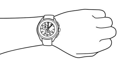 punctual: Mano con el reloj moderno, ilustración vectorial