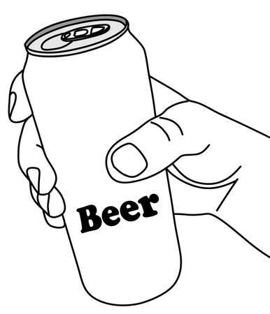 aluminum: hand holding aluminum can of beer vector illustration
