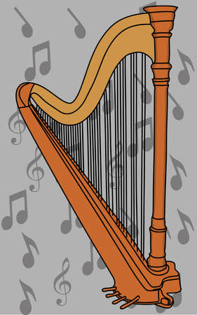 The concert harp, vector illustration